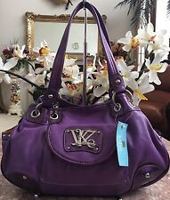 NWT Kathy Van Zeeland Purple Leather Satchel Tote Shoulder Bag Purse MRSP $89