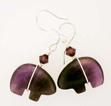 Zuni Bear Fetish  Amethyst Gemstone Earrings Sterling Earwires Swarovski Beads