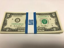 NEW $2 TWO DOLLAR BILL NOTE USD UNCIRCULATED SEQUENTIAL ORDER 2013 SERIES LUCKY