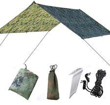UK Camping Tarp Shelter Hiking Poles Rain Fly Tent Tarpaulin Lightweight 3m x 3m