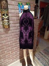Women's Vintage Max Studio Silk Blend Burnout Velvet Deco Floral Collar Dress L