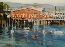 Original watercolor painting 10x14 Newport Harbor Oregon boats etc USA artist