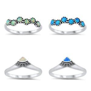 NEW!Sterling Silver 925 V SHAPED DESIGN BLUE & WHITE LAB OPAL RINGS 4-10 *