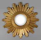 Vintage Mid Century Petite French Gilt Gold Sunburst Convex Mirror