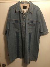 Sean John XXL Blue Denim SS Button Front Shirt Twin Pockets Cotton China