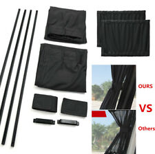 2pcs Black Car Side Window Curtain Rail Slider Sun Visor Blind Sunshade Anti-UV