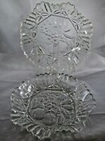 "Pair of Vintage 11"" Pressed Glass Fruit Bowl Serving Platter Dish Scalloped Edge"