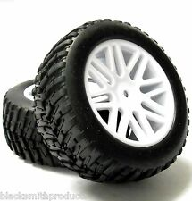 15502wh16 1/10 Scala RC Off road Monster Truck Ruote Pneumatici X2 16 Spoke BIANCO