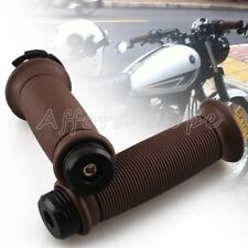 "Black Bar End Caps+Brown Retro 7/8"" Motorcycle Hand Grips Throttle Handlebar"