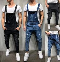 Men Distressed Denim Overalls Suspender Trousers Bib Pants Skinny Jean Jumpsuits
