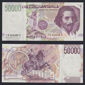 Italia 50.000 lire Bernini 2° tipo A1992 SPL+/XF+  C-10