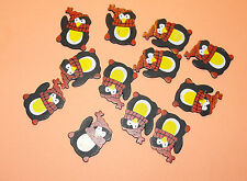 12 Flat Wooden Waving Christmas Penguin Card Topper Embellishments