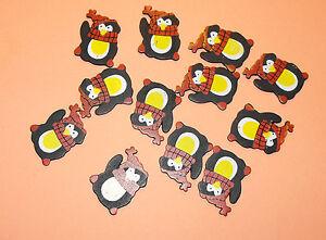 12 Flat Wooden Waving Christmas Penguin Card Topper Embellishments