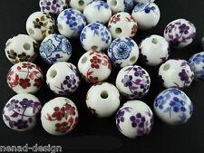 10 PORZELLAN Perlen RUND 12mm MIX handgemacht nenad-design AN297