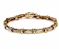 "10k yellow gold 1ct diamond tennis bracelet 12.8g estate vintage 7"" womens 5.1mm"
