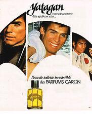 PUBLICITE ADVERTISING 035  1977  CARON  eau de toilette pour homme YATAGAN