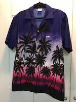HIGH SEAS Bahamas Resort Wear Aloha Hawaiian Camp Shirt Tropical Sunset