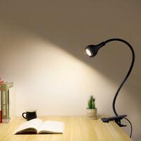 Flexible Gooseneck LED Reading Light 5V USB Clip On Lamp Desk Table With Switch