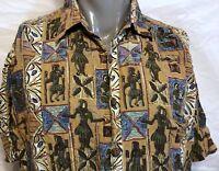 Kahala Tiki Pattern Dancer Rayon Hawaiian Shirt Size Large Aloha Hula Skirts