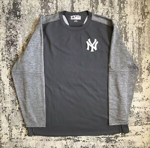 Majestic New York Yankees Sz 2XL XXL Mens Grey Therma Base Pullover Sweatshirt