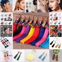 Bohemian Women Boho Multi-Colorl Long Tassel Fringe Drop Dangle Earrings Jewelry