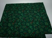 "1-1/4yds x 44"", Unbranded, ""Holly & Pine Cones"", Green, Cotton Fabric"