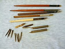 Vintage Dip Ink Pens - 4 Wooden & 1 Bone + Selection of Nibs