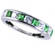 Green Emerald / Clear Princess Cut Cz Wedding Band_Sz-7_925 Sterling Silver-Nf
