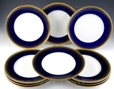 Antique Limoges Bernardaud France COBALT BLUE & GOLD GILDED DINNER PLATES Set 10