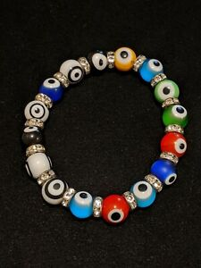 Artisan Colorful Rainbow Evil Eye Rhinestone Glass Bead Stretch Bracelet