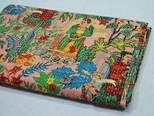 Indian Handmade Vintage Kantha Floral Quilt Double Size Bedspread Blanket Throw