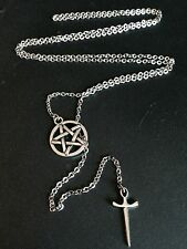 Silver Pentagram Star & Dagger Lariat Pendant Necklace on Stainless Steel Chain