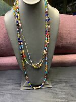 "Bohemian Necklace Multi Color 2 Strand Art & Glass Seed Beads 54""Inches"