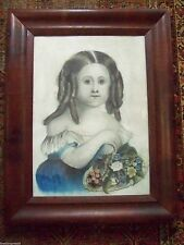 c.1800's SWEET 19th CENTURY AMERICAN FOLK ART PORTRAIT PRINT HAND COLOR PAINTING