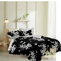 3D Quilted Duvet Cover Set Double King Size Bed Covers Fitted Sheet & Pillowcase