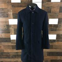 J Crew Ludlow Moon British Cloth Tweed Overcoat Blue Herringbone Mens 38R
