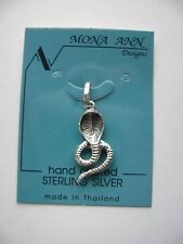 Sterling Silver Cobra Snake Pendant New