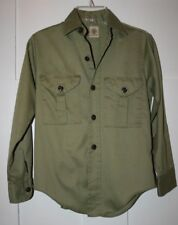 BOY SCOUTS VINTAGE 60S/70s GREEN KHAKI UNIFORM SHIRT - Size  Boys M (see below)