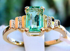 1.15ct Genuine Colombian Emerald with Diamonds 14k Yellow Gold Ring, Size 7