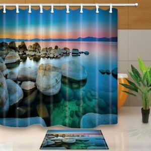 Seaside Decor Tropical Beach Sunrise Golden Clouds With Stones Shower Curtain