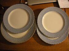 SoHo Pottery Cobridge England, Basket, Flow Blue, 3 Dinner Plates, 1 Charger