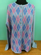 Haband Women's Argyle Pattern Cardigan Sweater - Size XL - Gray, Pink, Blue, EUC