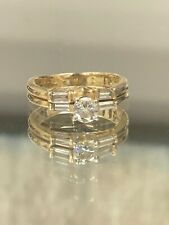 Signed Kd 14k Yellow Gold Round Diamond Baguette Wedding Set Sz 7.5