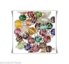 150 Silver Wire Wrappped Glass Bead Links 8mm Round w/ 2 end Loops Mixed Colors