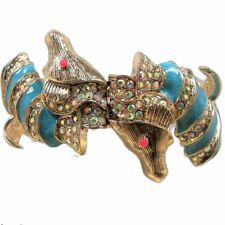 Betsey Johnson Betsey & The Sea Hinged Bracelet Crystal Blue Seahorses Gold Tone