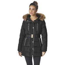 Bebe Women's Plus Hooded Belted Puffer Winter Jacket, Size 2X, Black