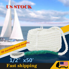 """1/2"""" x 50ft White Twisted Three Strand Nylon Anchor Rope Boat Boat Dock Rope"""