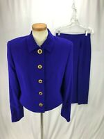 Carlisle Women's Bluish Purple Wool Skirt Suit 10