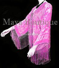 Candy Pink Silk Burnout Velvet Short Fringe Jacket Short Kimono Maya Jacket