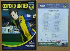 Football Programme plus Teamsheet>OXFORD UNITED v BURTON ALBION Mar 2011